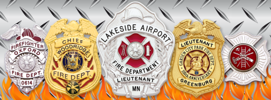 collection of firefighter badges