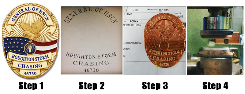 The badge making process steps 1 to 4