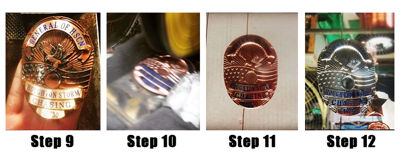 the badge making process steps 9 to 12