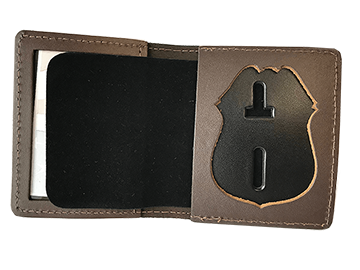 ID Case with badge cutout shown in brown