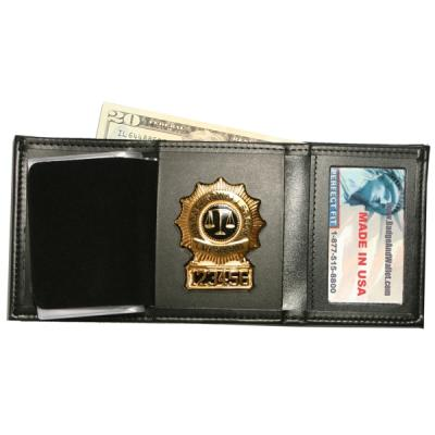 tri fold wallet with double id window badge and wallet