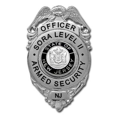 New Jersey SORA Level II Armed Security Badge - Eagle Over Circle