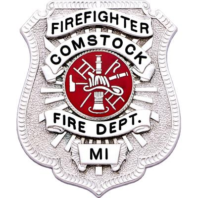 Comstock Fire Department Michigan Firefighter Badge Model S586A