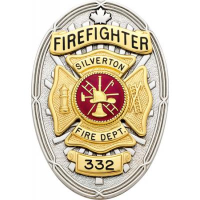 Canadian Firefighter Badge with Maple Leaf Model F270_B48A