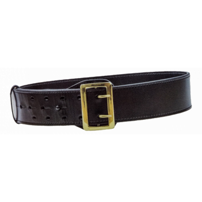 Sam Browne Leather Duty Belt. Shown in plain finish with brass buckle.